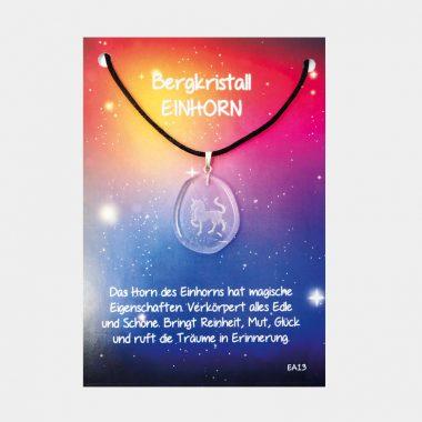 Energie Amulett aus Bergkristall (große Karte) VE=3 - Einhorn VE=3