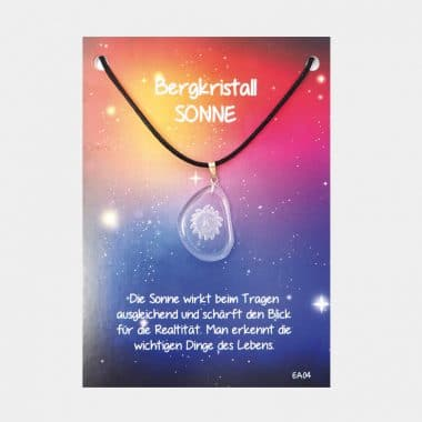 Energie Amulett aus Bergkristall (große Karte) VE=3 - Sonne VE=3