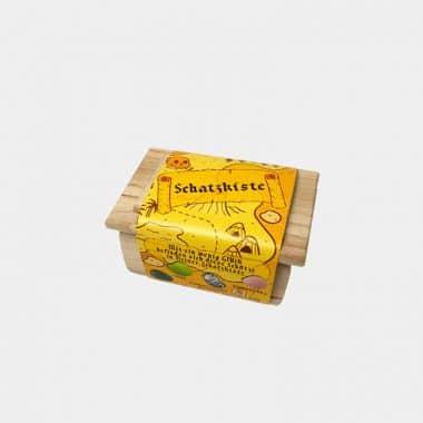 Schatzkiste Holz mit Edelsteinen gefüllt in 3 Designs (VE=15) -