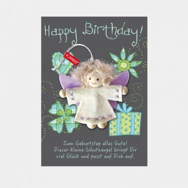 Schutzengel Fair Trade auf großer Karte 12 Designs (VE=4) - 031 Happy Birthday 1 VE=4