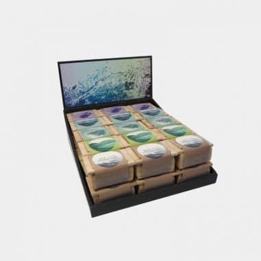 Wasserbelebung in der Holzbox in 2 Designs (VE=15) - Display Wasserbelebung mit Banderole 30 Stück