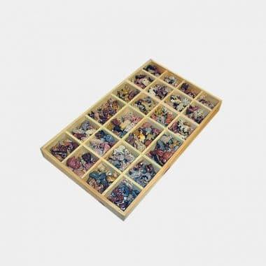 Specksteintiere in 36 Designs und 2 Displays Handarbeit (VE=15) - Holzsetzkasten mit 350 Specksteintiere