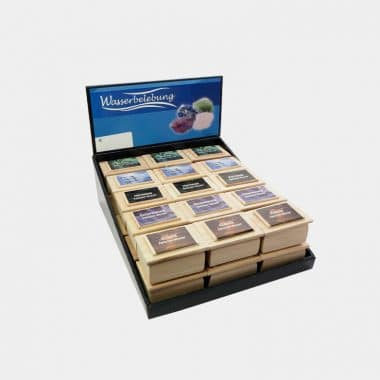 Wasserbelebung in der Holzbox in 2 Designs (VE=15) - Display Wasserbelebung eingeschweißt 30 Stück