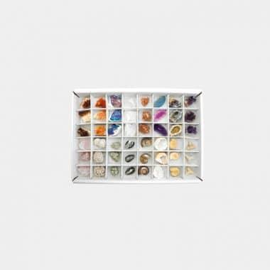 Rohsteine-, Mineralien- und Fossilien-Boxen in 7 Sortierungen - Box 5 Fossilien klein Mix 48 Stück